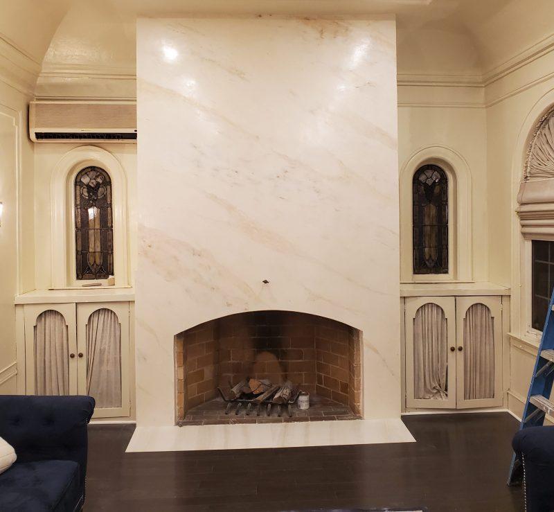 venetian plaster marble fireplace